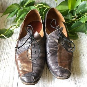CYDWOQ Handcrafted Leather Patchwork Loafers